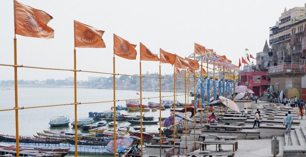 A deserted Dashashwamedh Ghat, otherwise one of Varanasi's most famous and crowded places. Usually, hundreds of devotees throng to the site every evening for the 'Ganga Aarti' or worship of the Ganges performed by a group of priests. Due to the extraordinary circumstances created by the second wave, only one priest has been performing the Aarti every evening, on behalf of all others. Photo: Dhruval Parekh.