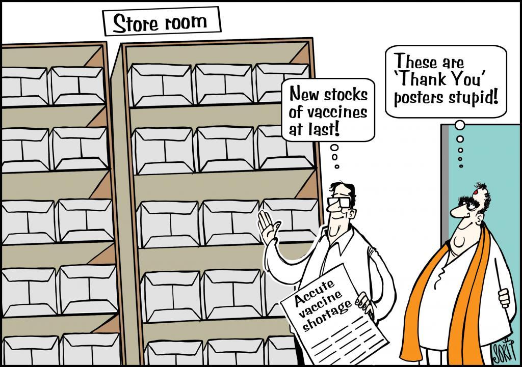Stocking COVID-19 vaccines cartoon: Sorit Gupto