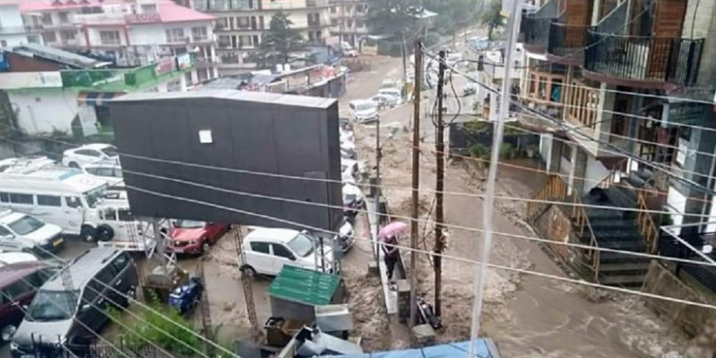 Flash floods in Dharamshala after heavy rains in Kangra district