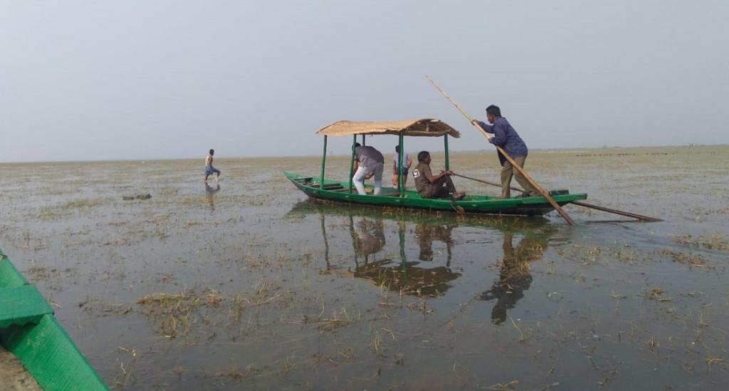 Former poacher, Kishore Behera (in blue shirt) rows a boat on the Chilika lake. Photo: Hrusikesh Mohanty