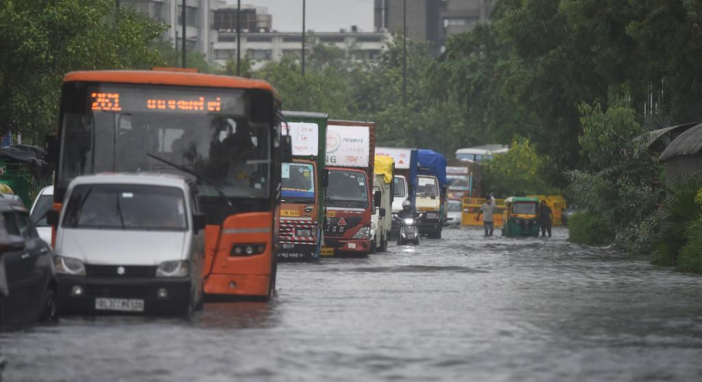 It finally poured in Delhi July 18 and 19, 2021. The city's first spell of rain pulled the mercury down by several notches, but also proved to be a nightmare for pedestrians and motorists as several streets were submerged in water. Photo: Vikas Choudhary