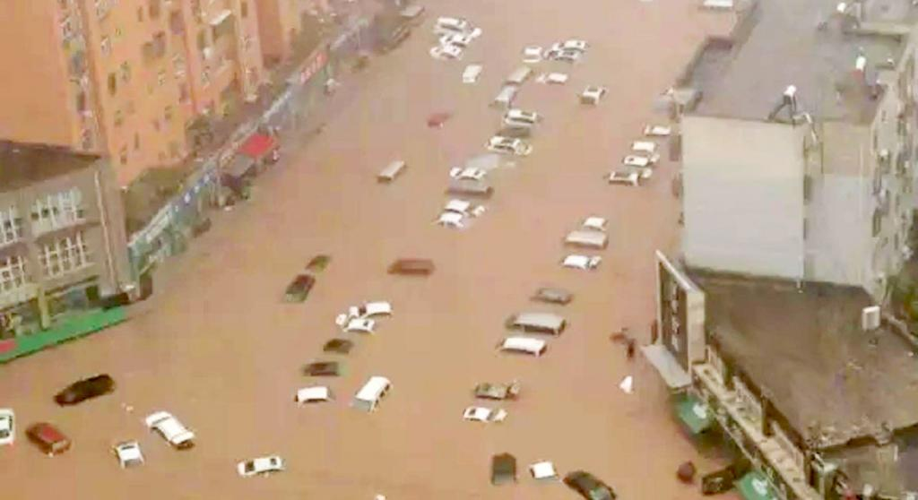 Extreme flooding in Zhengzhou, China, on July 20, 2021, after over 25 inches of rain fell in 24 hours. Heavy rain fell across China over August 21-22, 2021. Affected areas included the central province of Henan, where serious flooding in July killed more than 300 people. Photo: UN Climate Change / Twitter