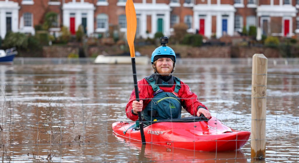 A local kayaker makes the most of the flood water in the River Dee, the United Kingdom, which burst its banks after the rainfall from Storm Christoph. The storm brought significant rain and widespread flooding across the UK. Hundreds in Greater Manchester and Wales were evacuated. Photo: iStock