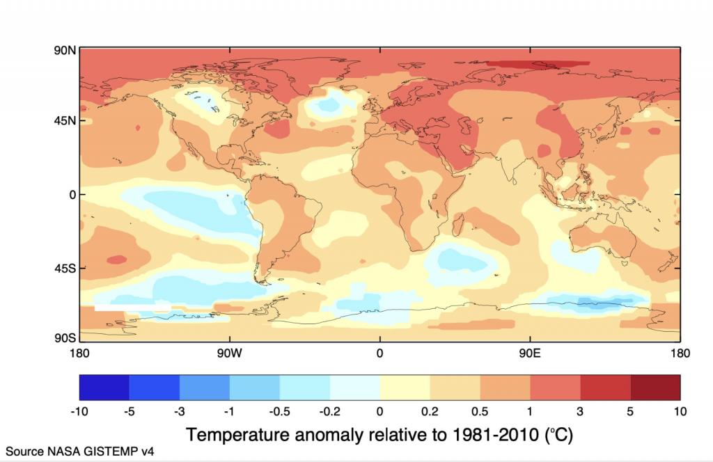 This chart shows the temperature anomaly relative to 1981-2010.