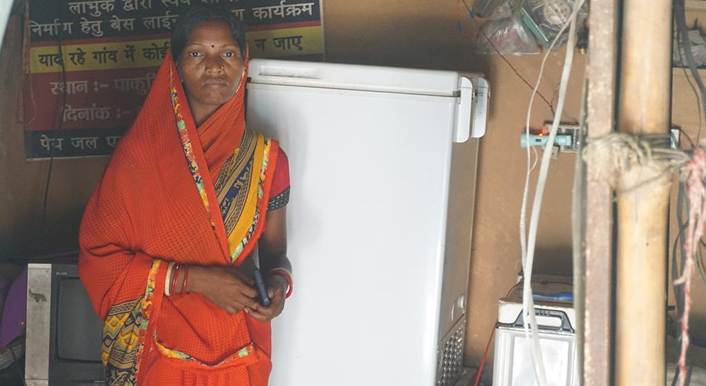 The IKEA Foundation supported Chandani Devi (36) to buy cold storage for vaccines. She told us that vaccine supply was impacted the most during the pandemic; she distributed LaSota vaccines (immunization of chickens against Newcastle disease) for animals to nearby villages. This helped avoid losses to women who are heavily reliant on livestock.