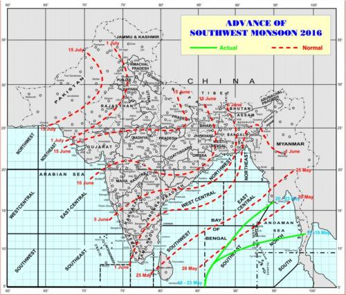 Map showing the progress of this year's south-west monsoon. 