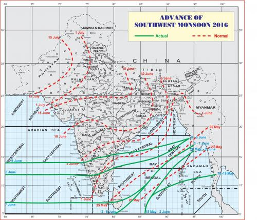 The map shows the progress of the south-west monsoon in India