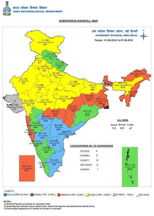 Map shows rainfall in India between JUne 1-7, 2016