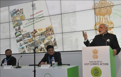 Prime Minister Narendra Modi, Power Minister Piyush Goyal and Environment Minister Prakash Javadekar at an event on the sidelines of COP 21 in Paris last year