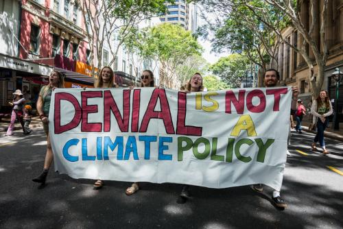 University students demonstrate during the People's climate March in Brisbane, Australia (2014) (Credit: iStock Images)