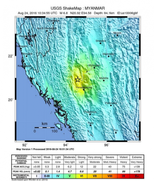 The epicentre of the quake was located 25 km west of the town Chauk in Myanmar (Courtesy: US Geological Survey)