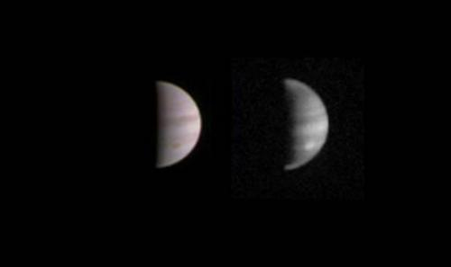 The dual view of Jupiter was taken on August 23 when NASA's Juno spacecraft was 4.4 million kilometres from the gas giant planet on the inbound leg of its initial 53.5-day capture orbit