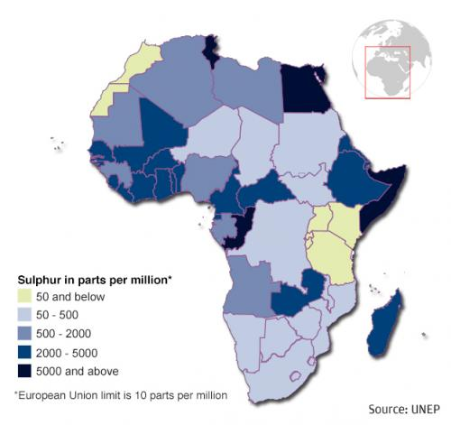Several African countries allow diesel to have a sulphur content of more than 2,000 PPM