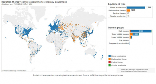 Map shows radiation therapy centres across the world