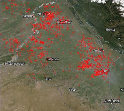NASA image depicting fires on agricultural lands in Punjab and Haryana, on October 11, 2016