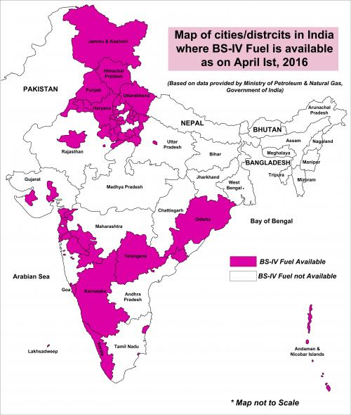 Status of BS IV fuel in India as on April 01, 2016 (Source: CSE, based on data from Petroleum Planning and Analysis Cell, Ministry of Petroleum and Natural Gas)