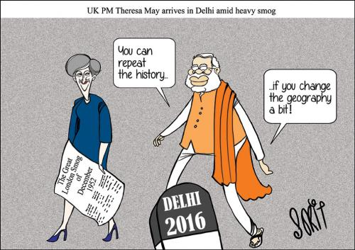 British PM Theresa May arrives in Delhi amid heavy smog