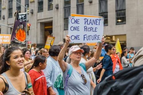 A protester at a climate change march in New York, USA (Credit: iStock)
