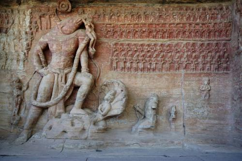 A relief of Lord Varaha holding Bhudevi aloft in the Udayagiri Caves near the city of Vidisha in Madhya Pradesh  Credit:Flickr
