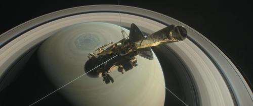 The illustration shows Cassini above Saturn's northern hemisphere prior to making one of its Grand Finale dives