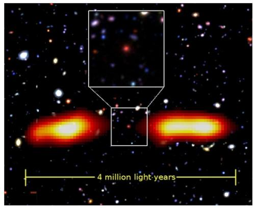A radio galaxy earlier discovered by Indian astronomers. Credit: India Science Wire