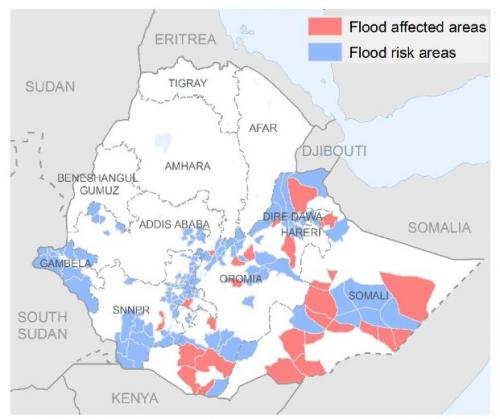 Flood assessment conducted in Shabelle zone of Somali region from April 19 to 24.