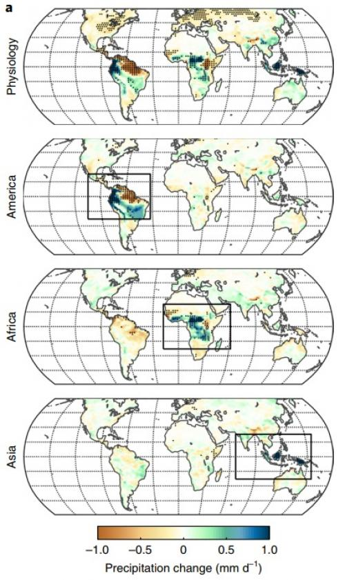 Annual mean precipitation change. Credit: Nature Climate Change
