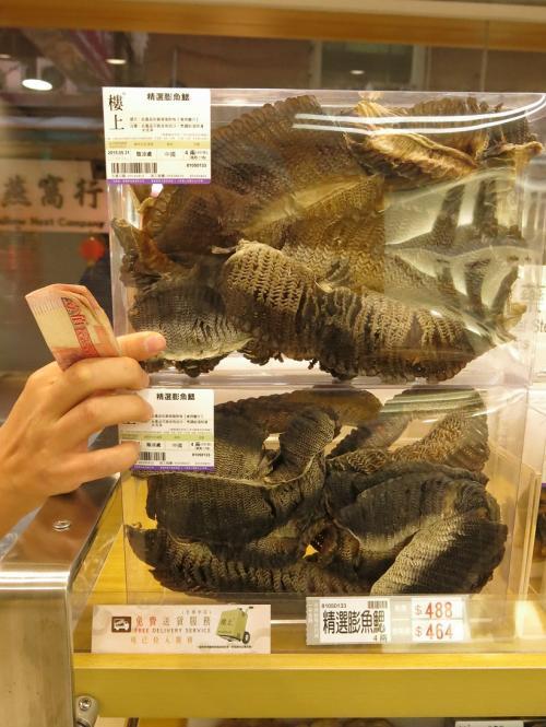 Dried manta ray gill rakers, Hong Kong           Credit: Michael Buckley