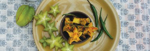 The juicy green star fruit always find its way to the vendor's basket