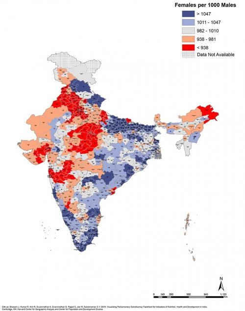 Elections 2019: Maps that explain state of development in parliamentary constituencies : Females per 1000 Males
