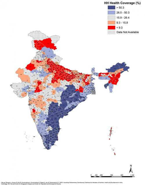 Elections 2019: Maps that explain state of development in parliamentary constituencies : HH Health Coverage (%)