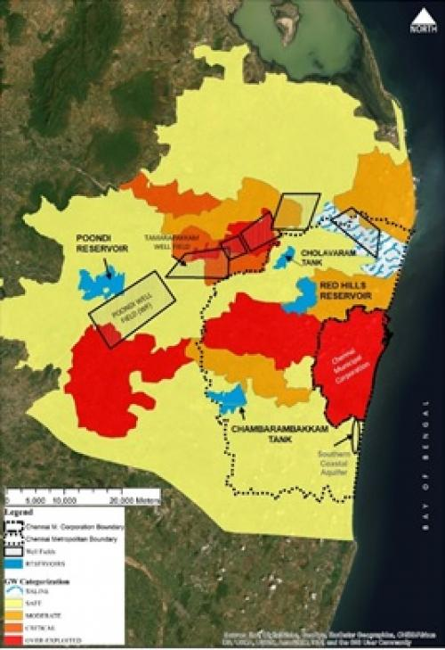 Chennai city and metropolitan area, with water sources (reservoirs and groundwater fields). Colours indicate level of groundwater exploitation