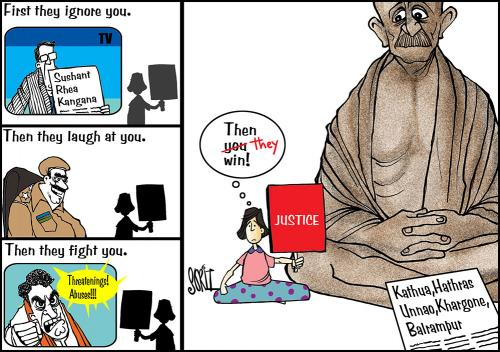 How Gandhi's doggedness continues to inspire Indian cartoonists