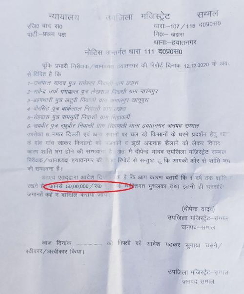 उत्तर प्रदेश के संभल जिले के 6 किसानों को 50 लाख रुपए का नोटिस भेजा गया। फोटो : रणविजय सिंह