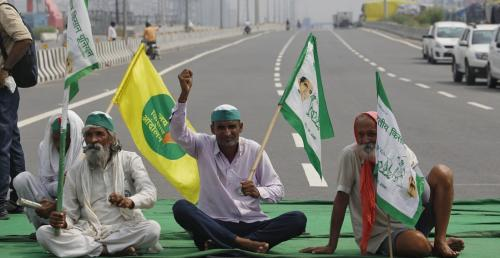 Farmers across the country observed a year since the passage of the three controversial farm laws and 10 months since their protests began against them on September 27, 2021 with a 'Bharat Bandh'. Here, farmers sit in protest at the Ghazipur border crossi
