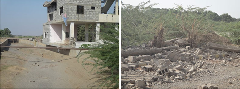 Photographs shows the damages which destroyed water infrastructure in Wadi Siham