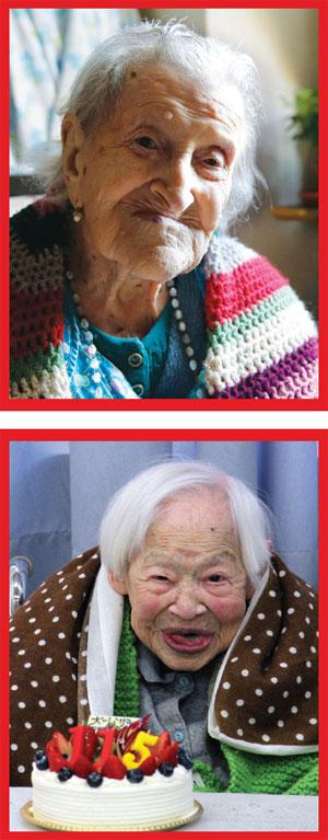 At 117, Emma Morano (top) of Italy is the world's oldest living person and credits her long life to eating eggs and singlehood, while Misao Okawa of Japan, who died in 2015 after her 115th birthday, said eating a good meal and relaxing were the key to long life