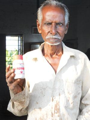 Subramanya from Madurai uses monocrotophos pesticide as suggested by agricultural colleges. It is banned for use on vegetables (Photo: Megha Prakash)