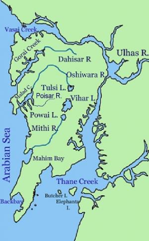 The rivers and lakes of Mumbai      Credit: Wikimedia Commons