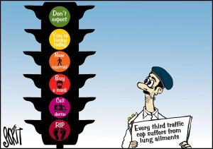 Every third traffic cop suffers from lung ailments
