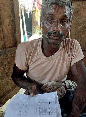 Ram Chhabiley of Shravasti's Bangha village with the post-mortem report of his son Mukesh, who was returning from Ludhiana but died on the bus