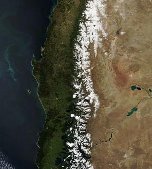 Snow melts as spring arrives in the Andes. Photo: NASA