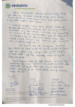 Page 1 of the written assurance provided by Vedanta officials on the company's letterhead to Katikela's residents. Photo: Amjad Badshah