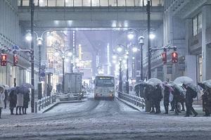 The snow-strewn streets of Shibuya, Tokyo. Photo: @jxpann / Twitter