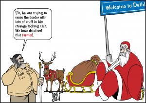 Santa and the Grinch. Cartoon: Sorit Gupto