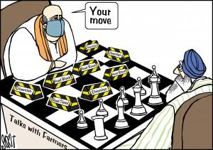 Farmers and the chess player; cartoon: Sorit Gupto