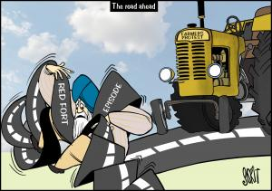 Farmers' protest road ahead. Cartoon: Sorit Gupto