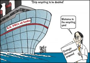 Union Finance Minister Nirmala Sitharaman announced in her budget speech February 1 that ship recycling, among the most hazardous activities environmentally, would be increased. The budget also proposed disinvestment of public sector units. Our cartoonist