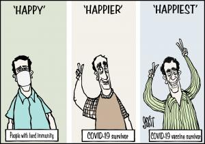 Simply Put: COVID-19 happiness index. Cartoon: Sorit Gupto