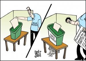 Simply Put: Delhi voters. Cartoon: Sorit Gupto